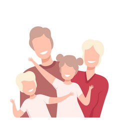Happy loving family smiling parents and their vector