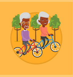 Happy senior couple riding on bicycles in the park vector