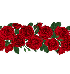 horizontal seamless background with red roses vector image