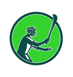 Hurling player icon retro vector