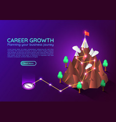 Isometric web banner mountain with business vector