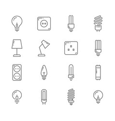 light bulb and electrical lines icons set vector image