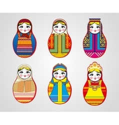 Matryoshka dolls in different outfits vector image