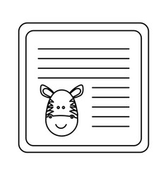 Monochrome card with male zebra head vector
