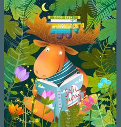 Moose or elk reading story book in forest for kids vector