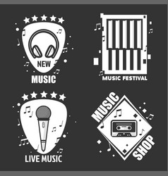 music labels headphones microphone for vector image