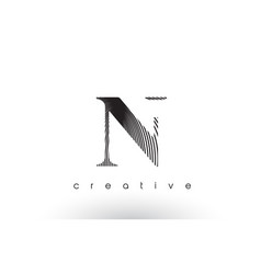 N logo design with multiple lines and black and vector