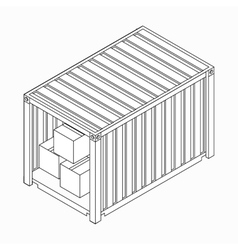 Open container with boxes icon isometric 3d style vector image