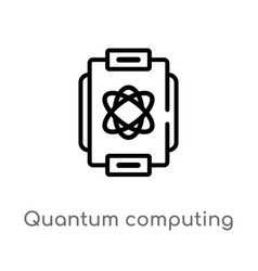 Outline quantum computing icon isolated black vector