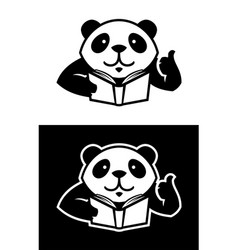 panda character with book cut out silhouette vector image