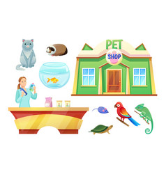Pet shop animals and girl at check-out counter vector