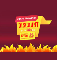 promo poster with burning fire flame hot offer vector image