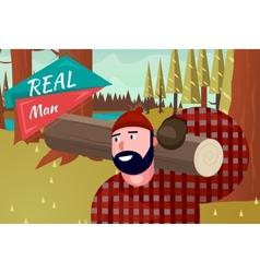 Real Man Lifestyle Natural Life Cartoon Retro Wood vector image