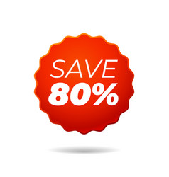 Red sticker save 80 percent vector