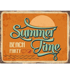 Retro metal sign summer time vector