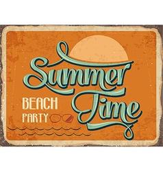 Retro metal sign Summer time vector