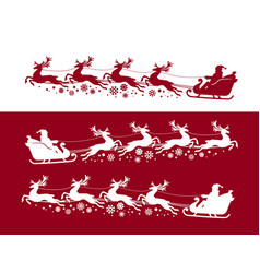 Santa claus in sleigh with reindeer christmas vector