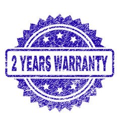 Scratched 2 years warranty stamp seal vector