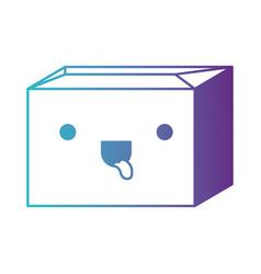 Sealed kawaii cardboard box in degraded blue to vector