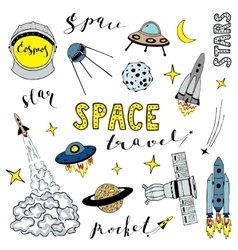 set elements on space theme vector image