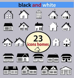set of black and white houses vector image