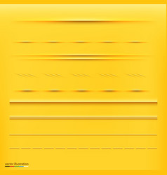 Set of dividers isolated on yellow background vector