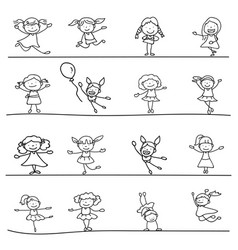 Set of hand drawing abstract happy cute girls vector