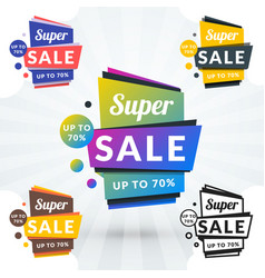 set of sale banners shopping tags discount and vector image