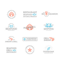 set retro vintage fish and seafood logo or vector image