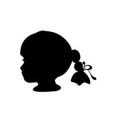 silhouette portrait face girl image vector image