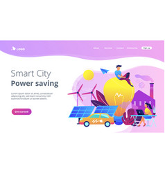 Smart city and power saving landing page vector