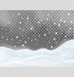 Snowy landscape isolated on dark background vector