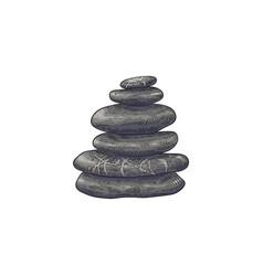 spa stones in stack in sketch vector image