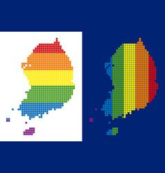 spectrum pixel dotted south korea map vector image