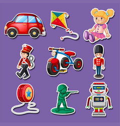 Sticker design for many toys vector