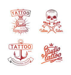 tattoo studio logo colorful logos for tattoo vector image