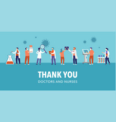 thank you doctor and nurse - covid-19 pandemic vector image