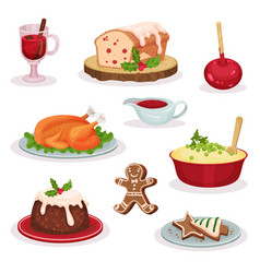 traditional christmas food and desserts set vector image