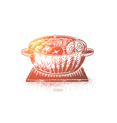Udon japanese soup noodles bowl with meat vector