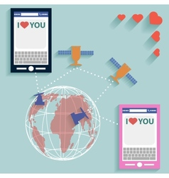 Valentine SMS worldwide flat style vector image