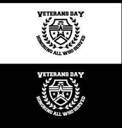 Veteran days flat badge logo army emblem vector