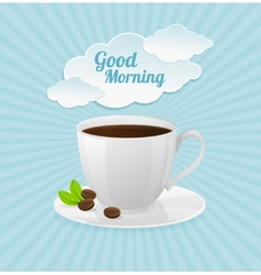 white coffee cup and text cloud vector image