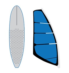 Windsurf sail and surfing board vector image