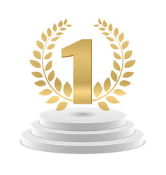 winner podium golden number 1 and wreath vector image