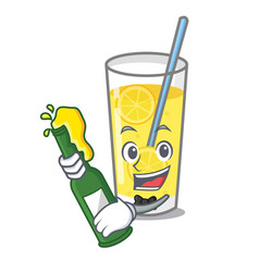With beer lemonade mascot cartoon style vector