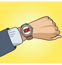 Wrist watch show now pop art style vector