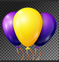 yellow and blue-purple balloons with ribbons vector image