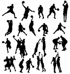 basket ball silhouettes vector image vector image