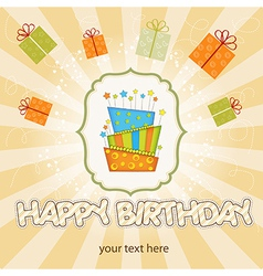 big birthday cake with burning candles vector image