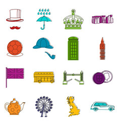 Great britain set outline style vector